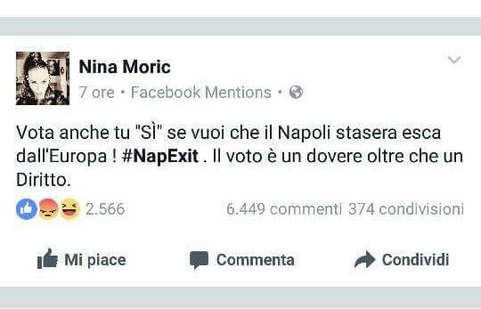 Nina Moric: è polemica social dopo uno sfottò sul Napoli FOTOGALLERY