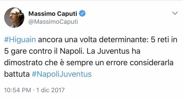 Sarà corretto il pensiero di Massimo Caputi? Forse un po' sottovalutata la Juventus
